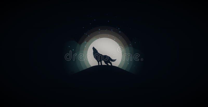 Lobo - papel pintado de la Luna Llena imagen de archivo libre de regalías