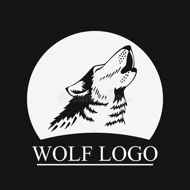 Lobo principal do urro na lua ilustração royalty free