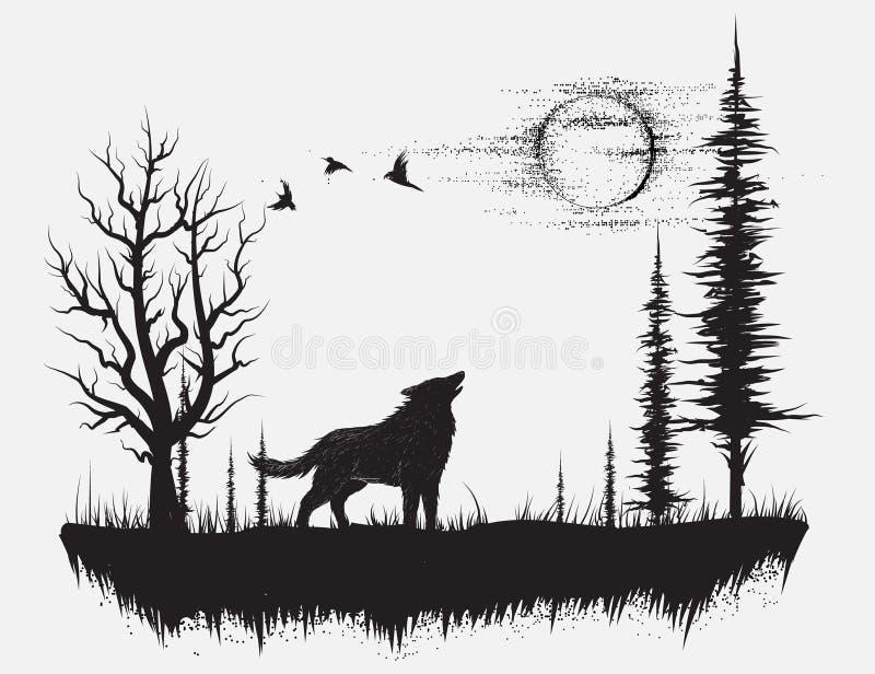 Lobo que grita en la luna libre illustration