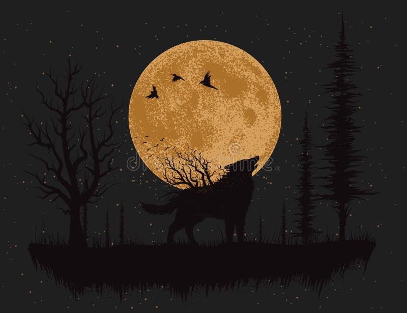 Lobo que grita en la luna stock de ilustración