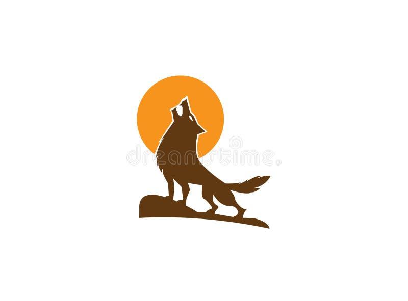 Lobo que grita en la montaña y la luna superiores para el diseño del ejemplo del logotipo stock de ilustración