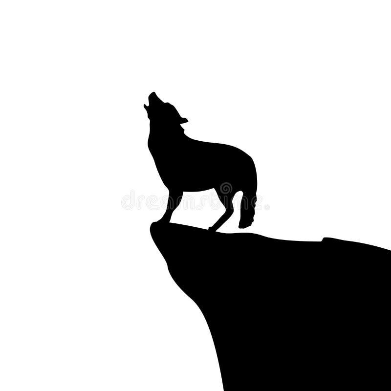 Lobo que urra ilustração stock