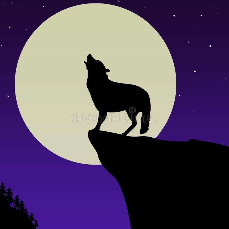 Lobo que urra na frente da lua ilustração royalty free