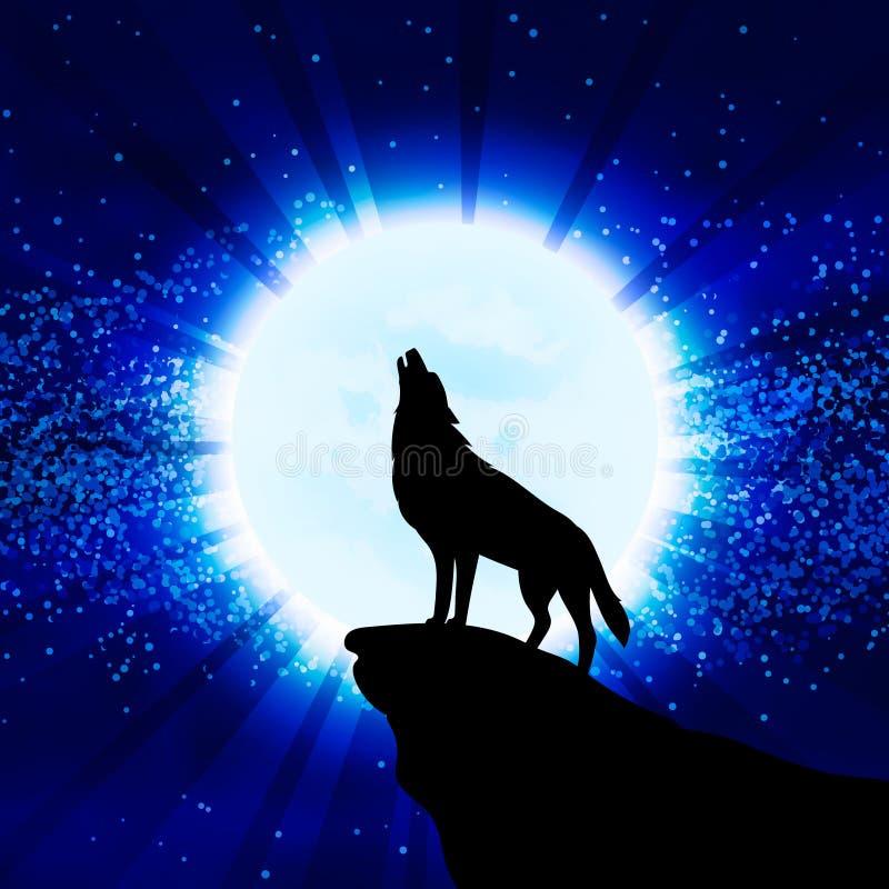 Lobo que urra na lua ilustração do vetor