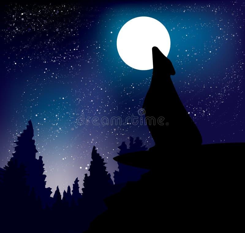 Lobo que urra na lua da noite que está na montanha ilustração stock