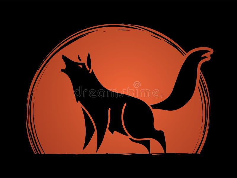 Lobo que urra o vetor gráfico da vista lateral ilustração stock
