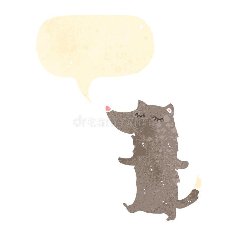 lobo retro de la historieta ilustración del vector