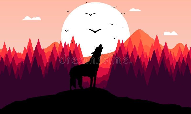 Lobo rujir ilustração royalty free