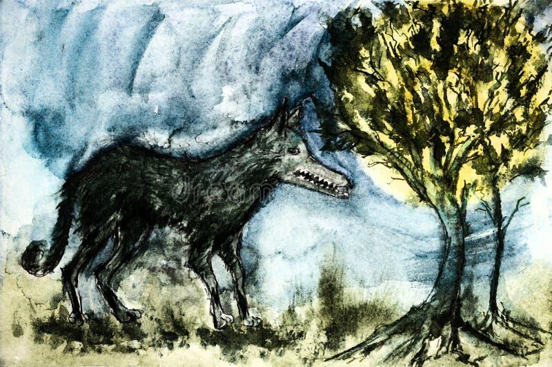 Lobo selvagem resistido na floresta ilustração royalty free