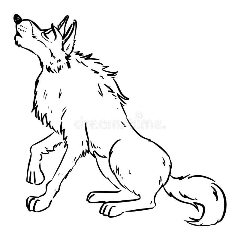 Lobo uivando na lua Dog ou wolf lineart cartoon Canine na imagem do estilo lineart Animais selvagens em banda desenhada ilustração stock