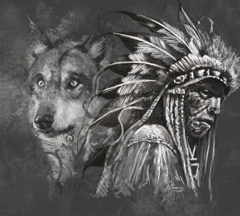 Lobo y jefe indio americano. Tatuaje libre illustration