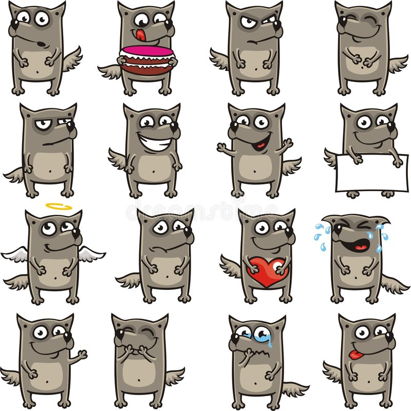 Lobos divertidos (1) stock de ilustración
