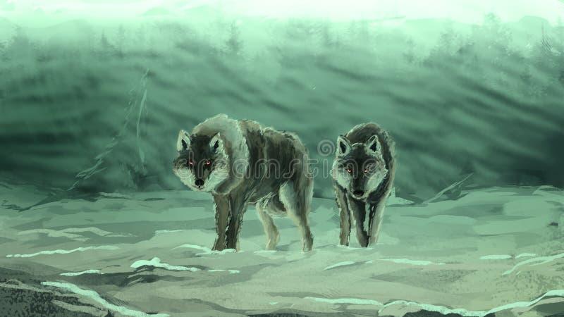 Lobos en una ventisca densa libre illustration