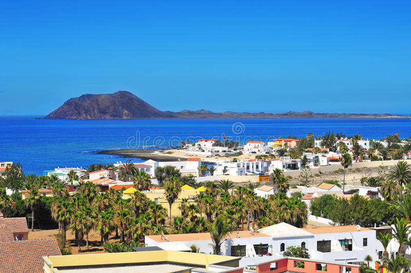 Lobos Island and Corralejo in Fuerteventura, Spain stock images