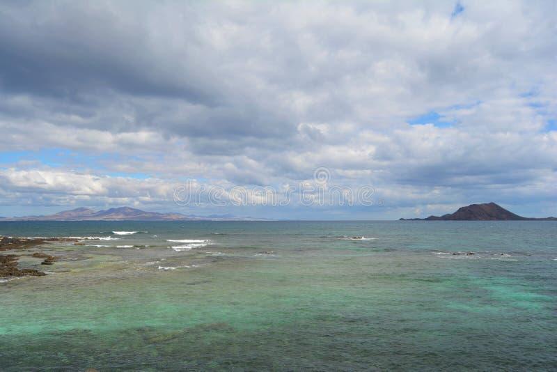Lobos Island in emeral waters. Corralejo, Fuerteventura, Spain stock photo