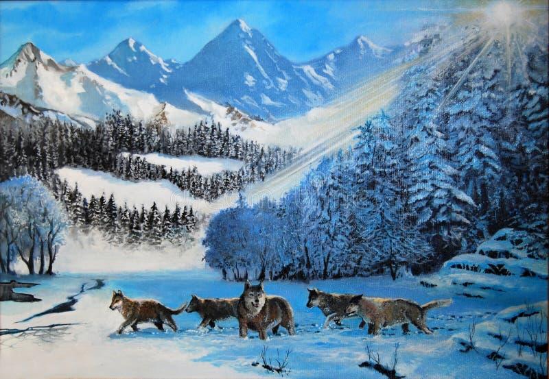 Lobos na neve ilustração royalty free