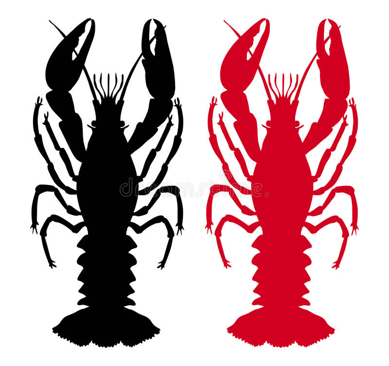 Lobster. Raw and boiled lobster silhouette vector illustration