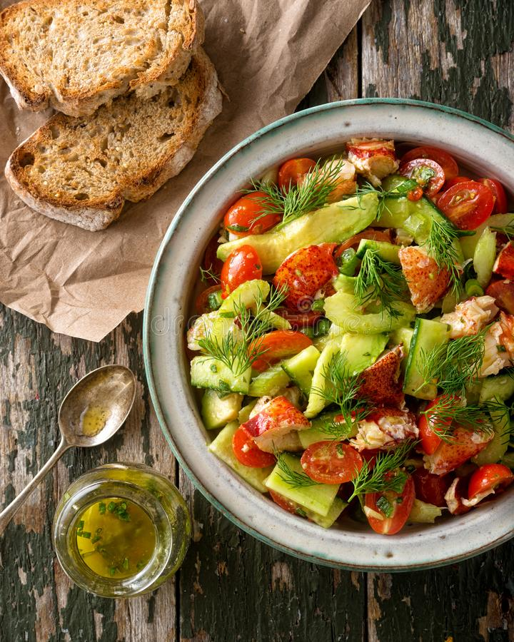 Download Lobster and Avocado Salad stock image. Image of dressing - 110483943