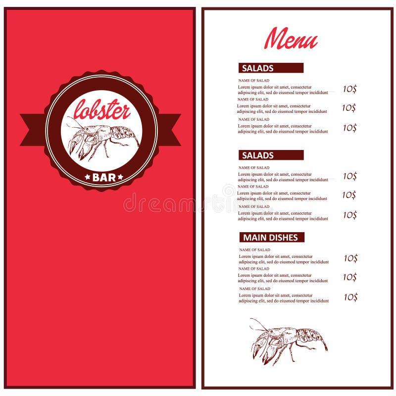 Lobster bar, fish and sea food restaurant menu sketch vector illustration. Fish and sea food cuisine frame menu vector illustration