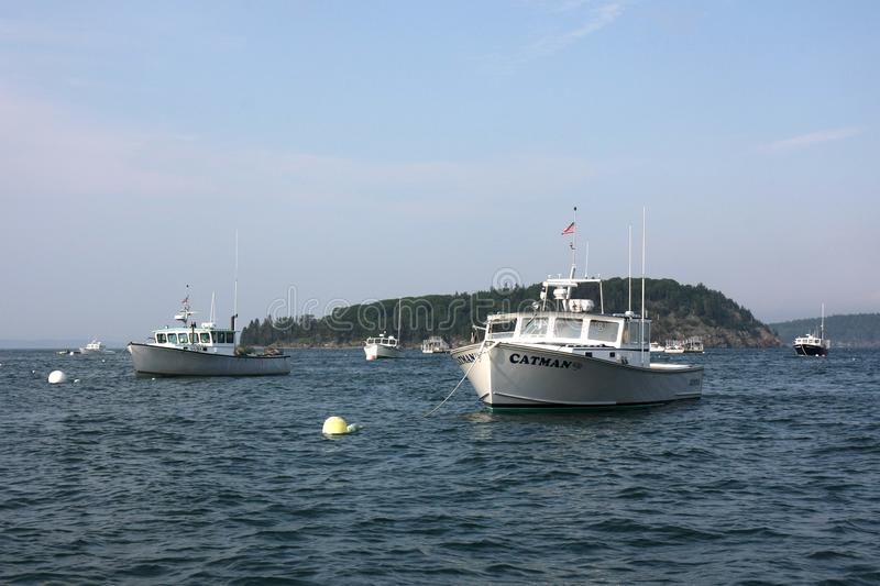 Lobster boats of Bar Harbor, Maine. stock photography