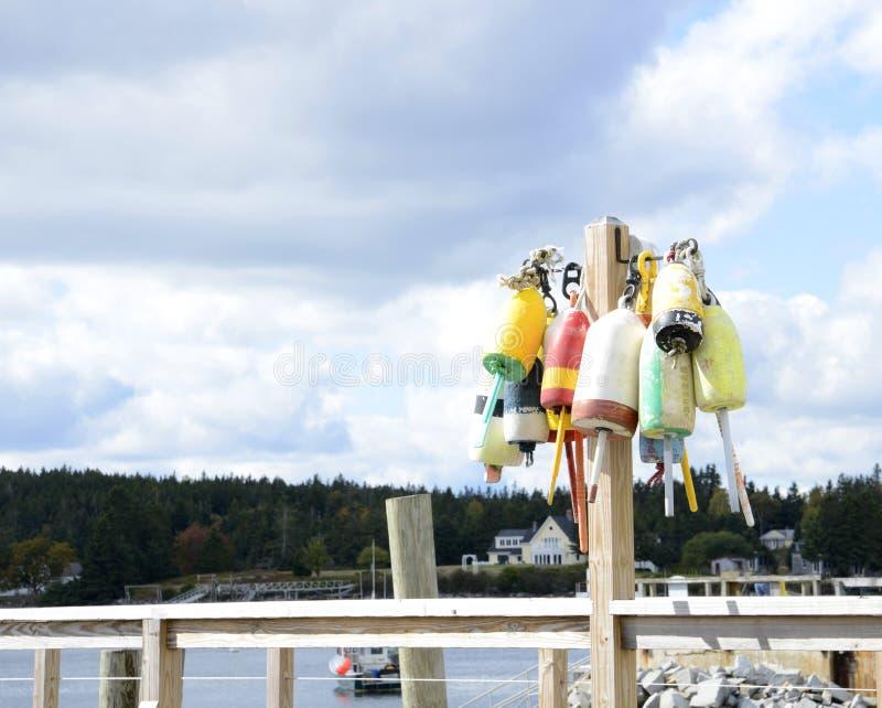 Lobster buoys stock photography