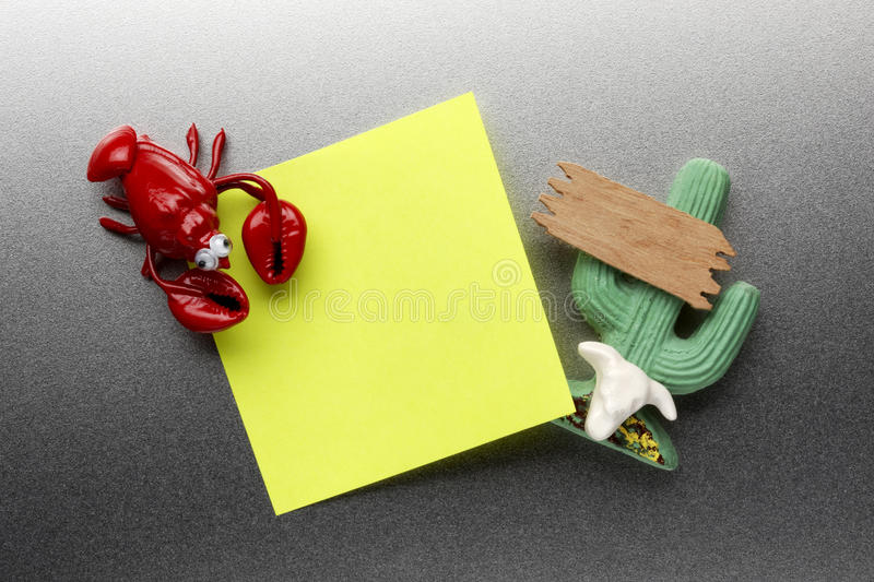 Lobster and cactus refrigerator magnets royalty free stock photos