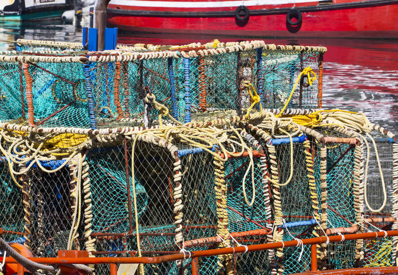 Download Lobster Cages On Boat In Harbour Stock Image - Image: 24234147