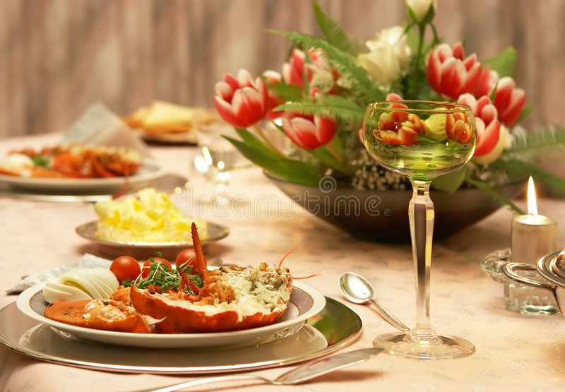 Download Lobster dinner stock photo. Image of plates, interior - 6607138
