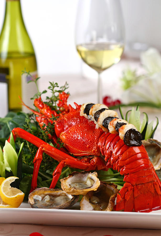 Lobster dish. In table setting stock photo