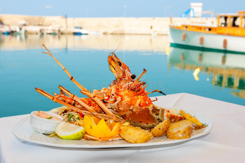 Lobster dish. Greece royalty free stock photos