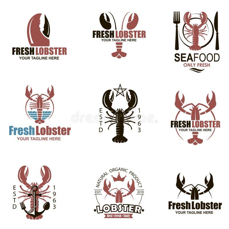 Lobster emblem set vector illustration