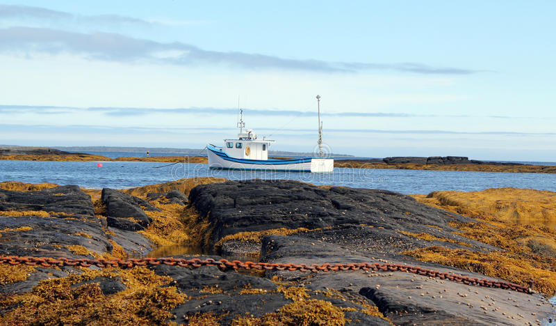 lobster fishing boat atlantic coast nova scotia stock
