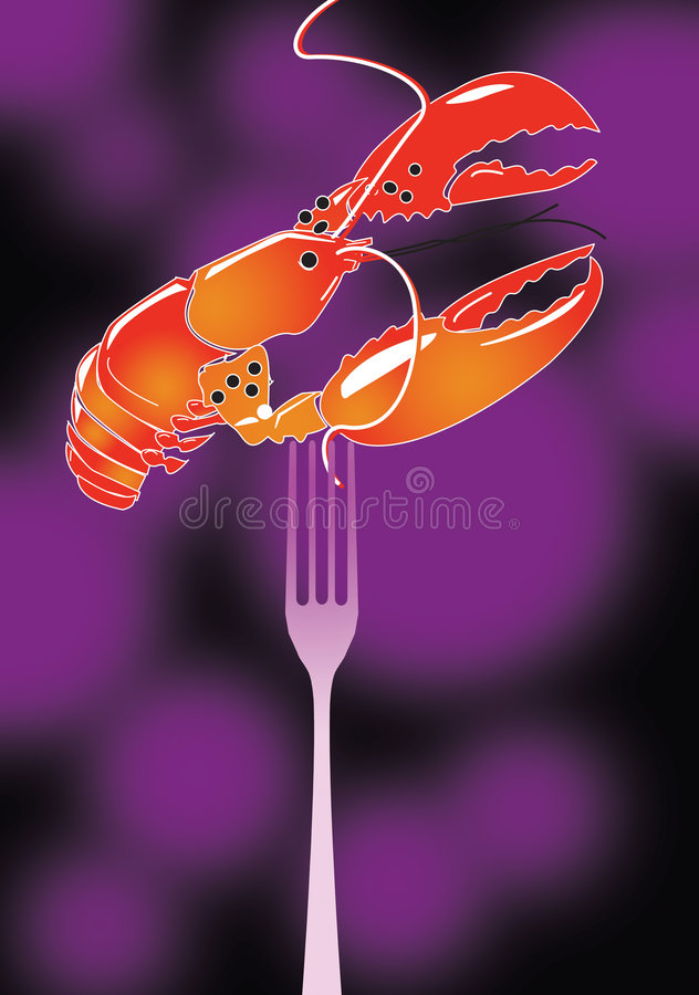 Lobster and fork stock illustration
