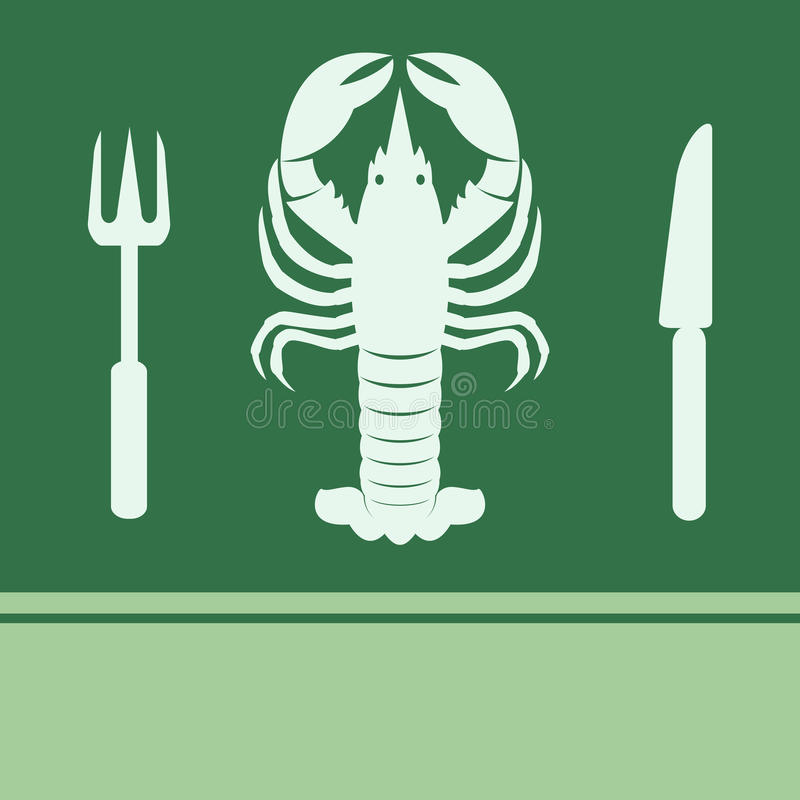 Lobster, Fork and Knife icon royalty free illustration