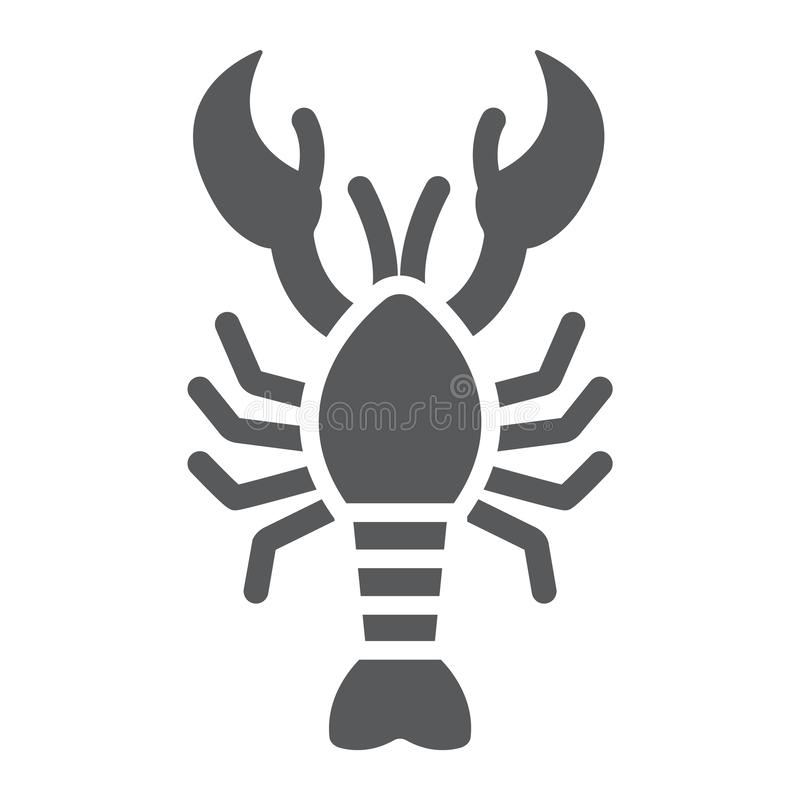 Lobster glyph icon, food and sea, cancer sign, vector graphics, a solid pattern on a white background. Lobster glyph icon, food and sea, cancer sign, vector royalty free illustration