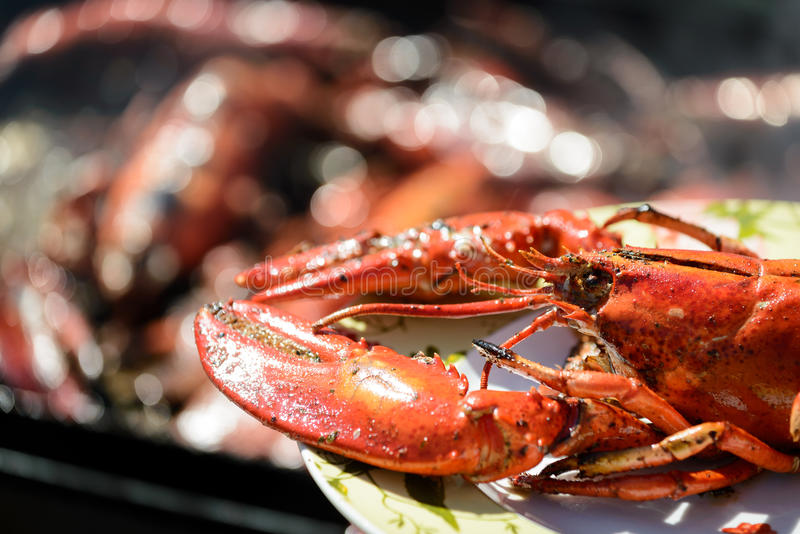 Lobster grill royalty free stock photos