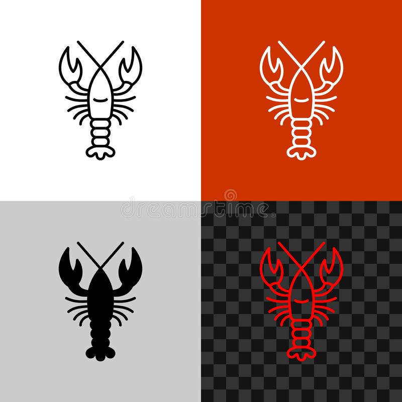 Lobster icon. Simple line lobster or crayfish. vector illustration