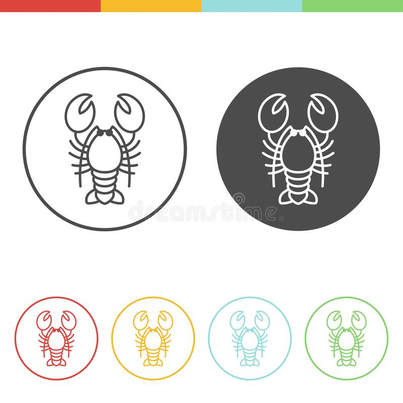 Lobster icons in thin line style vector illustration
