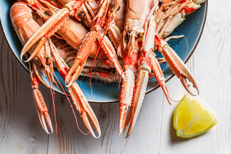 Lobster with lemon as a seafood dish royalty free stock photos