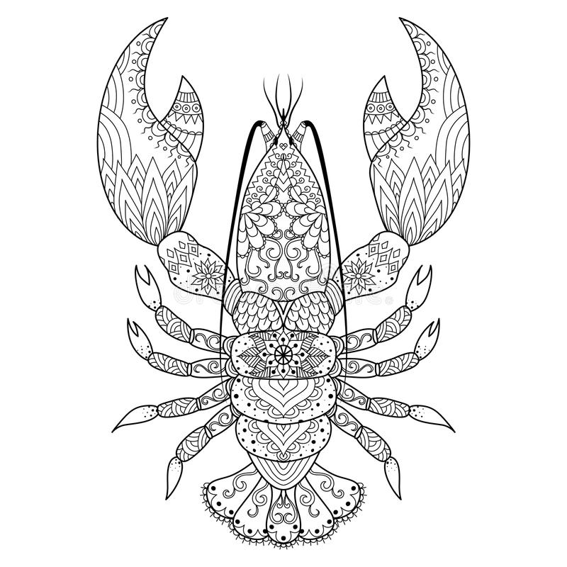 Lobster line art. Design for coloring book, logo, t shirt design, tattoo and so on stock illustration