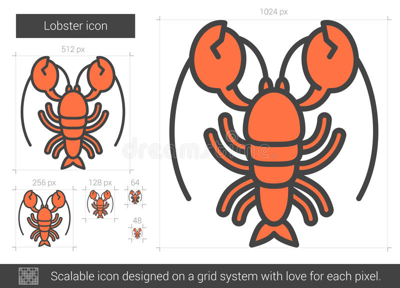 Lobster line icon. Lobster line icon for web, mobile and infographics. Vector white icon isolated on red background royalty free illustration