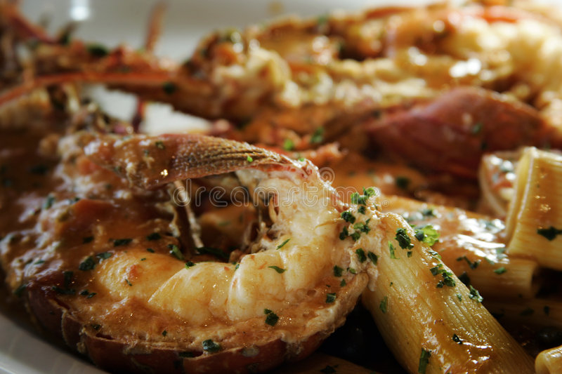 Lobster with pasta royalty free stock photos