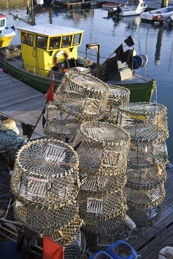 Download Lobster Pots & Fishing Boat Royalty Free Stock Photo - Image: 3751695