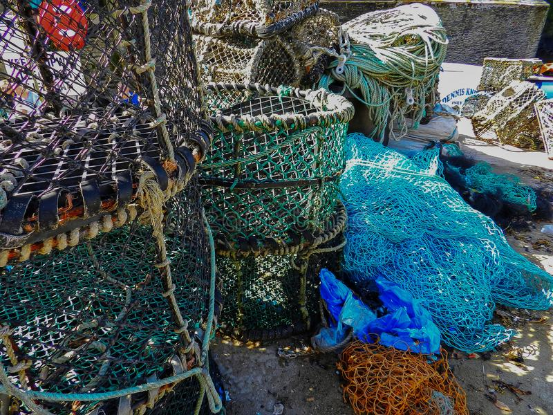 Lobster pots and fishing nets. Eyecatching subject found in Port Isaac, Cornwall stock photo