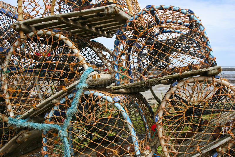 Lobster pots. Fishing. Lobster Pots, stacked ready for loading onto fishing boat royalty free stock photo