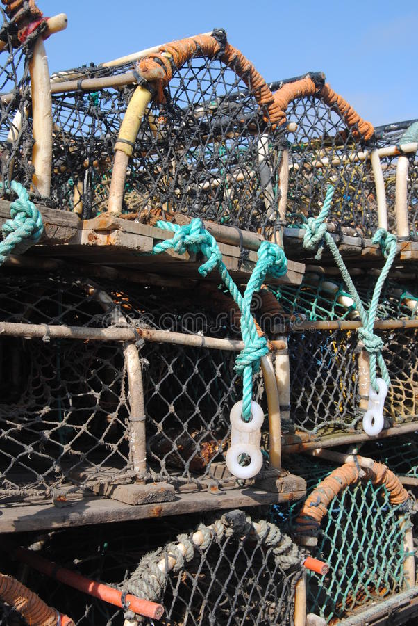 Lobster Pots stacked high stock photos