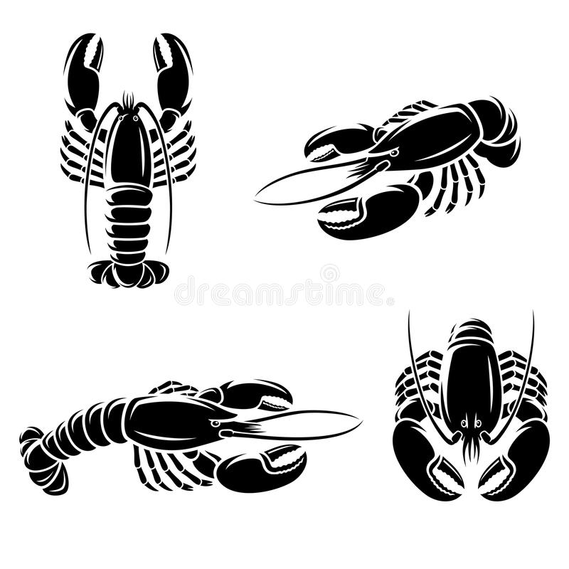 Lobster set. Vector royalty free illustration
