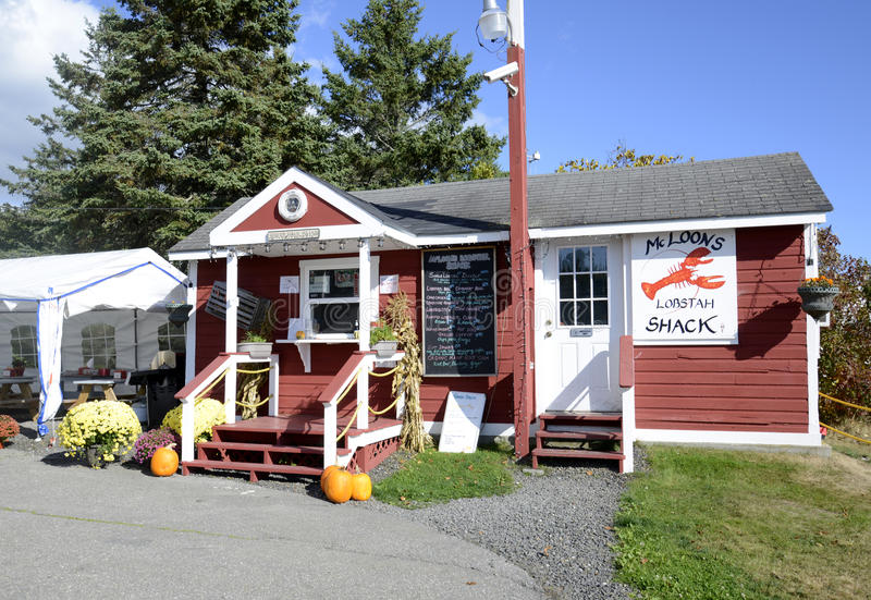 Lobster shack by Maine coast stock image