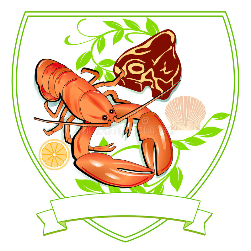 Lobster and Steak. Seafood and meat vector illustration