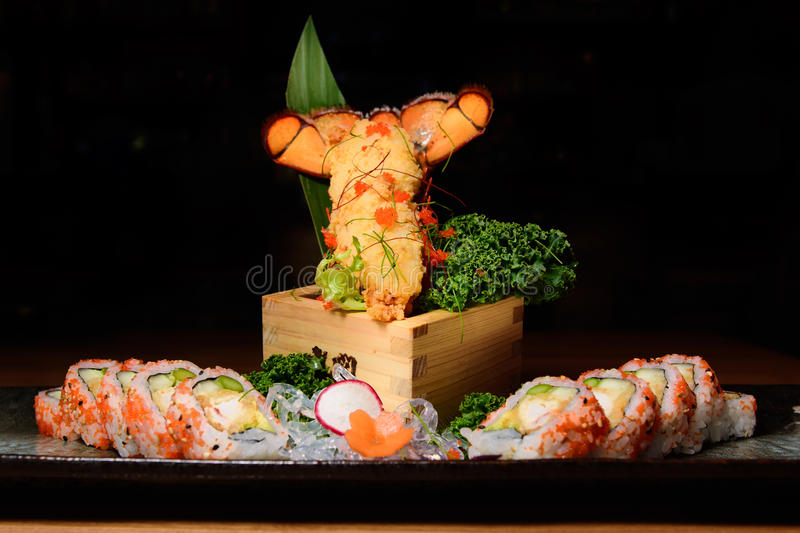 Lobster sushi roll royalty free stock photo